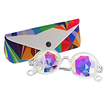 2dd95e0fd Amazon.com: TOPERSUN Rave Glasses Round Frame Kaleidoscope Glasses Prism  Glasses Used for EDM Party (Clear): Toys & Games