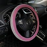 Sino Banyan Cystal Steering Wheel Cover for Women,Pink PU Leather Bling Bling Rhinestones