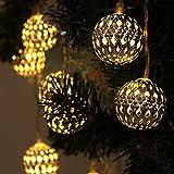 Xcellent Global 12 Luci LED a 2 modalità di alimentazione, con pannello solare, impermeabili e a forma di lanterna gialla marocchina, per decorazioni alberi per esterni, giardini, casa, matrimoni LD042
