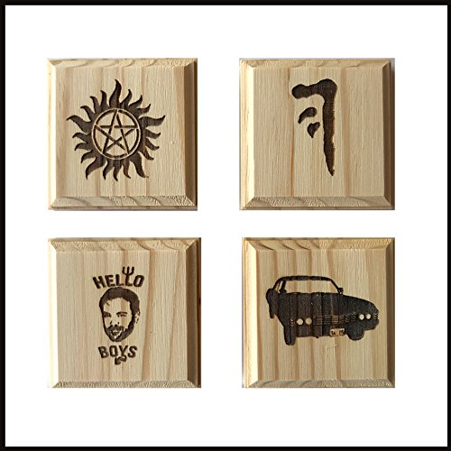 Supernatural Coasters - Supernatural inspired permanent engraved gift set of 4 wood coasters (By Brindle Southern): Anti possession symbol, Mark of Cain, Baby, and Crowley the king. Brindle Natural