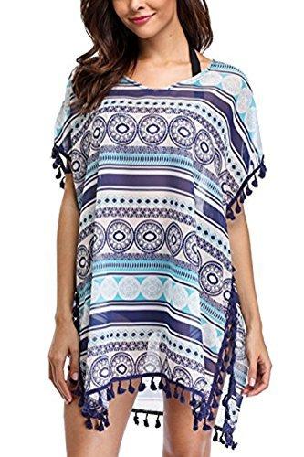 YKSH Women Tribal Swimsuit Chiffon Tassel Summer Beachwear Bikini Cover Up,Tribal,Medium