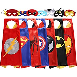 Lazu Superhero Dress Up Costumes 7 Satin Capes with Felt Masks (r5)