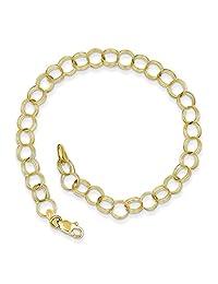 10k Yellow Gold Triple Link Charm Bracelet 10CH10