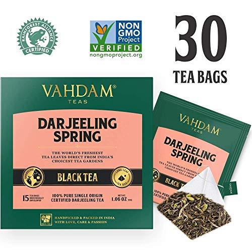 VAHDAM, Exotic Darjeeling First Flush Tea Leaves,15 Tea Bag (PACK OF 2), Long Leaf Pyramid Darjeeling Tea Bags, Aromatic & Flowery, 100% Pure Unblended First Flush Darjeeling Tea, Packed in ()