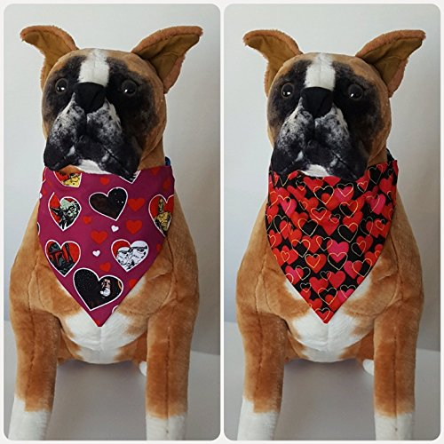 Reversible Bandana, Valentines, Made From Star Wars Fabric, Han Solo, Darth Vader, Yoda, Scarf Cat Dog Pet Slip On Over The Collar 2 in one (Reversible Obi)