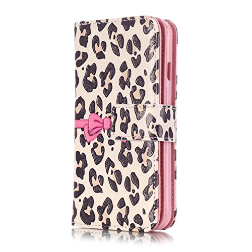 (iPhone 7 Case, iPhone 7 Wallet Case, Easytop Luxury Embossed Design PU Leather Case Wallet Flip Cover Case with Built-in 9 Card Slots & Stand Magnet Closure for iPhone 7 (Leopard Pink Bow Knot))