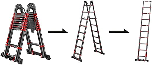 Amazon Com Multifunctional Anti Slip Telescoping Ladder Lightweight Multi Use A Frame Telescopic Extension Ladder With Wheels And Support Bar 330lb Load Capacity Size 2 5m 2 5m Straight Ladder 4 9m Home Kitchen