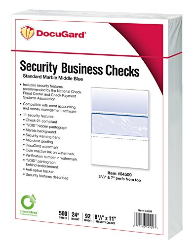DocuGard Business Checks, Blue Marble Middle, 24 Pound Stock, 8.5 x 11 Inches, 500 Sheets per Ream - Business Middle Check
