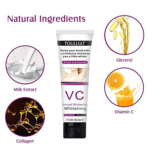 Underarm Whitening Cream,Skin Lightening Cream,Natural Skin Bleaching Cream with Vitamin C Effective for Lightening & Brightening Armpit,Knees,Elbows,Sensitive & Private Areas,Whitens and Repairs Skin