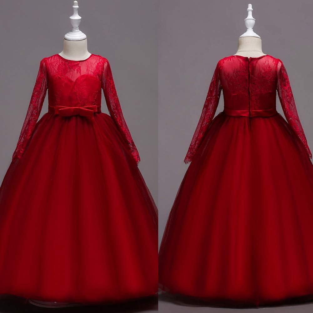 ceremonias para fiestas vestido de princesa cumplea/ños 3 a/ños elegante con tul y encaje WangsCanis Vestido de bautizo para ni/ña de manga corta