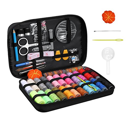 Sewing Kit, Diy Hand Craft Sewing and Repair Kit Supplies Over 99 Essential Tools in Zip Box Include Thimble, Thread, Needles and Complete Hand Sewing Accessories For Home Travel Repair Black by Mssmart