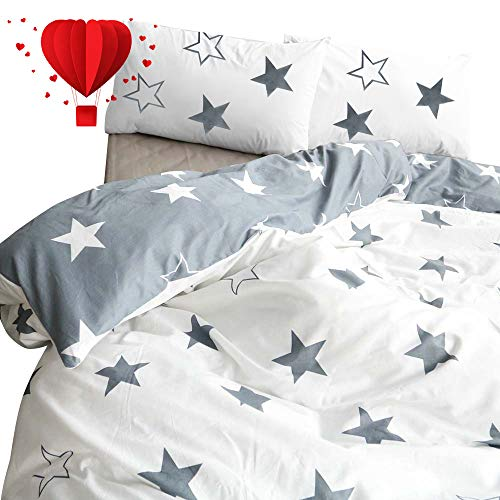 BuLuTu Five-Pointed Stars King Duvet Cover Grey White Cotton,Reversible Men Women Bed Bedding Cover with 2 Pillowcases,Hotel Quality King Duvet Cover for Kids Adults,No Comforter