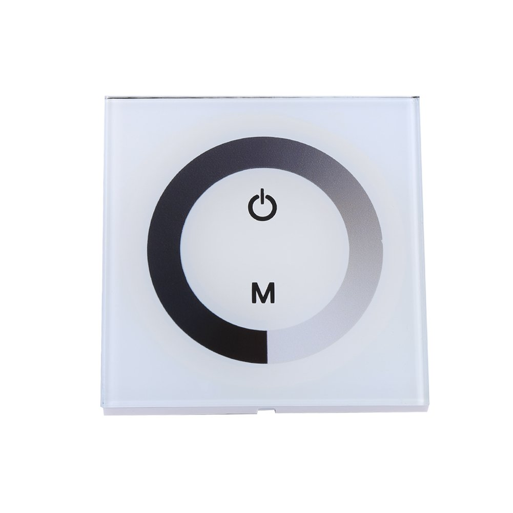 White Wall Mounted Touch Panel Controller Glass Touch Panel LED Dimmer Brightness Adjustable Dimmer for Single Color LED Light Strip