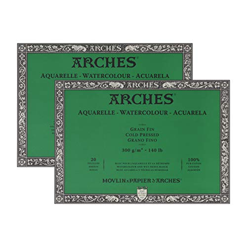"""Arches Watercolor Paper Block, Cold Press, 9"""" x 12"""", 140 Pound - 2 Pack"""