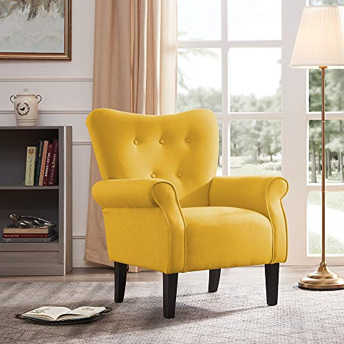 Belleze Modern Accent Chair Roll Arm Linen Living Room Bedroom Wood Leg (Citrine Yellow) (Gray Chair Accent Yellow And)