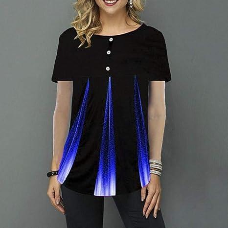 BGBG Camiseta de Mujer Talla Grande 5XL Camiseta con Estampado Degradado Mujer O Cuello Manga Corta Botón Señora Camisetas Verano Casual Mujer Tops: Amazon.es: Deportes y aire libre