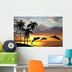 Wallmonkeys Dolphins near Hawaii Wall Mural Peel and Stick Graphic (36 in W x 22 in H) WM328827