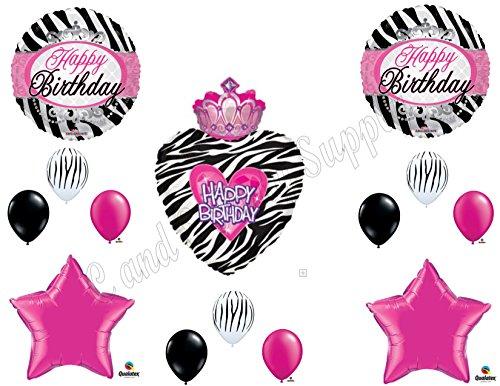 PRINCESS ZEBRA CROWN Balloons Birthday party Decoration Supplies 16th 13th -