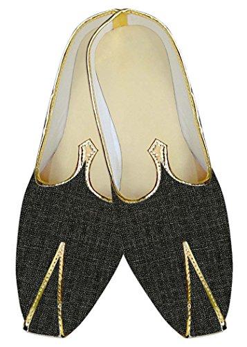 INMONARCH Mens Dark Gray Checks Wedding Shoes MJ015877 enQNoRY