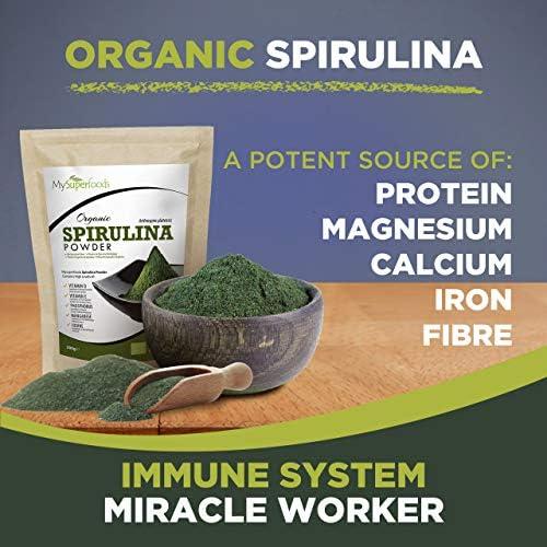 MySuperFoods Espirulina en Polvo Orgánica 500g, Fuente de Proteína Vegana Natural