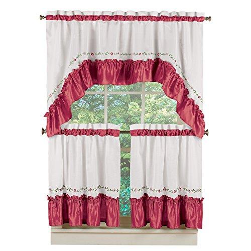 Collections Etc Ashley Floral Vine Ruffled Trim Café Valance Curtain & Tier Set with Rod Pocket Tops, Burgundy, 24