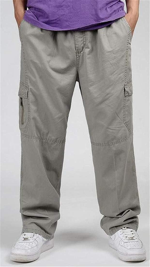 XiaoTianXin-men clothes XTX Mens Rugged Big Tall Baggy Multi Pocket Combat Open Bottom Cargo Pants
