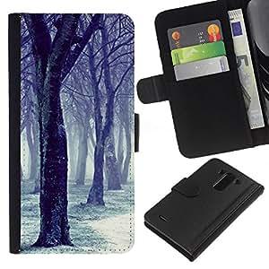 BearCase / Cuero de la tarjeta la carpeta del tirón Smartphone Slots Protección Holder /// LG G3 /// Negro Árbol Nieve Bosque Blanco