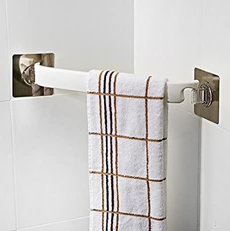 Amazon.com: Bathroom Corner Rack Towel Bar Sucker Towel Rack Free ...
