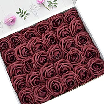 DerBlue 60pcs Artificial Roses Flowers Real Looking Fake Roses Artificial Foam Roses Decoration DIY for Wedding Bouquets Centerpieces,Arrangements Party Baby Shower Home Decorations (Burgundy)