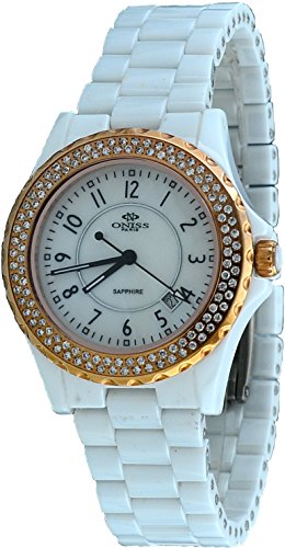 Oniss #ON6200-LRG Women's Crystal Accented Bezel and Index MOP Dial White Ceramic Watch