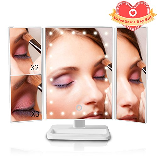 Lighted Vanity Makeup Mirror, Portable Travel Vanity Mirror with 24 Led Lights, 1x/2x/3x Magnification 180° Rotatable Magnifying Mirror for Women/Men/Girls Cosmetic Makeup