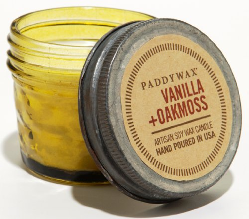 - Paddywax Relish Collection Scented Soy Wax Jar Candle, 3-Ounce, Vanilla & Oakmoss