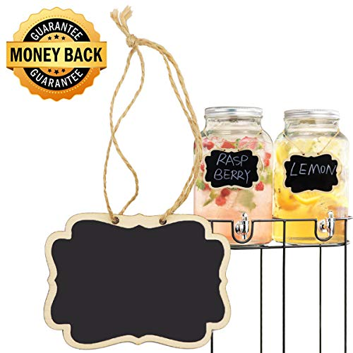 (Alyan & Jammsy Mini Hanging Chalkboard Signs Wooden Reusable Smooth Surface Small Chalk Boards Double-Sided Little Labels for Food Pantry Beverage Baskets (Black, Pack of)