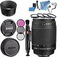 Nikon AF Zoom-NIKKOR 70-300mm f/4-5.6G Lens #1928 + 62mm 3 Piece Filter Kit + 62mm Macro Close Up Kit + Lens Pen Cleaner + Fibercloth + Lens Capkeeper + Lens Cleaning Kit Bundle
