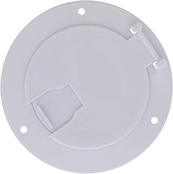 White Dumble Deluxe Round Electric Cable Hatch for 30 and 50 Amp RV Electric Cord RV Camper Electric Cord Cover