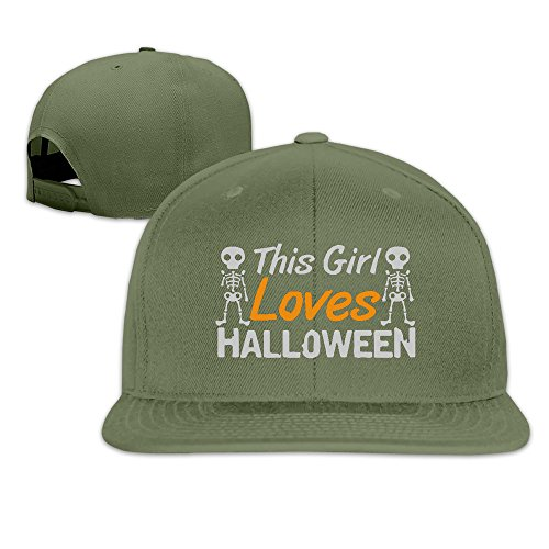 Runy Custom This Girl Loves Halloween Adjustable Baseball Hat & Cap ForestGreen