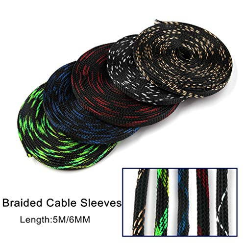 5M 6mm 5Colors Tight PET Cable Sleeves High Density Wire Gland Protection Braided Cables Sleeve Insulation Expandable Sleeving by MEIZOKEN (Image #2)
