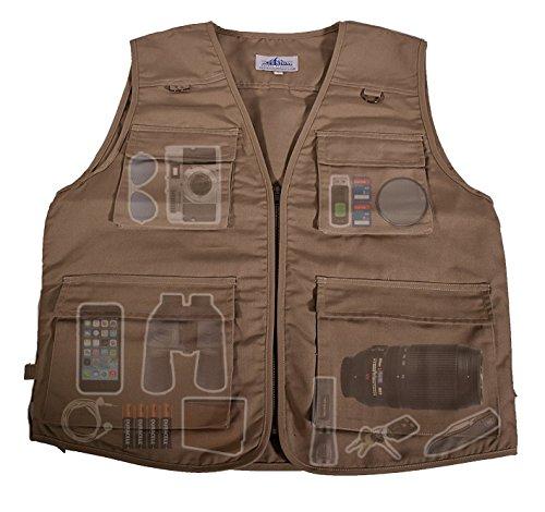 Outdoor Safari Photographer's Vest| Travel Vest| Hiking Vest| Fishing Vest| Sports Vest| Utility Vest| Bird Watching Vest| Durable Work Vest| Keep All of Your Items Within Reach!| (Tan, 5XL)