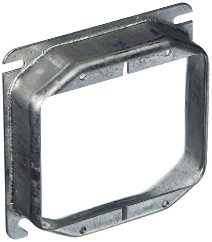 Hubbell 780 Raco Mud-Ring Raised Square Electrical Box Cover, 4 In L X 4 In W X 1 In T, Gray, Steel, 4