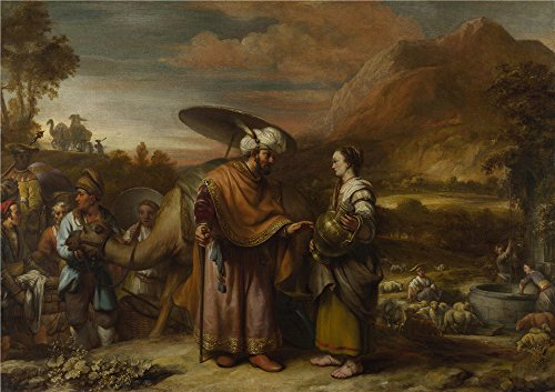 Oil Painting 'Gerbrand Van Den Eeckhout Rebekah And Eliezer At The Well ' Printing On High Quality Polyster Canvas , 10 X 14 Inch / 25 X 36 Cm ,the (Modern Family Halloween Worksheet)