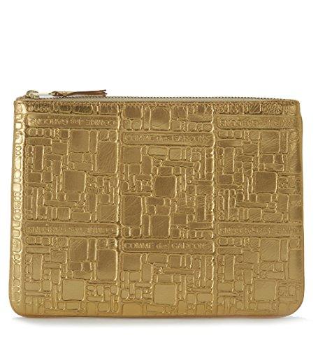 Comme Des Garçons Wallet Men's Pochette Wallet Comme Des Garçons In Golden Leather With Pattern Gold