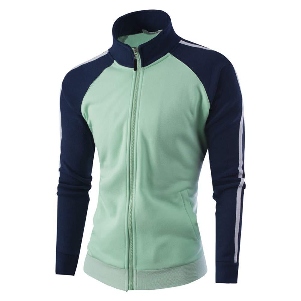 Faionny Mens Warm Jacket Stand Collar Jumper Solid Thick Coat Slim Zipper Jacket Coat Cardigan Winter Outwear