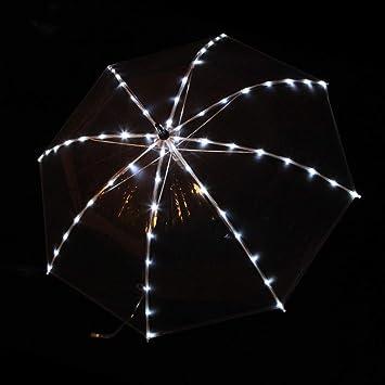 Wgwioo Paraguas Transparente Que Brilla Intensamente, Paraguas Luminoso De La Luz del LED con La