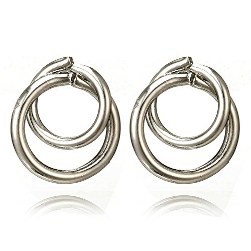 Smdoxi Hollow Out Earrings for Women Hoop Joint Hiphop Circle Pierced Earrings Prevent Allergy Dangle Earrings (Silver)
