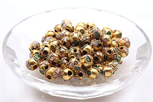 - Allb Cloisonne Enamel Beads Spacer Loose Metal Beads Jewelry Accessories for DIY Jewelry Making Bracelet Necklace 30PCS(Gold Yellow 8mm)