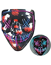 NIWWIN Halloween LED-masker, horrormasker, Halloween-decoratie, kleurenmasker die kan worden verlicht, speciaal kostuummasker, volwassen masker, carnaval-sfeer