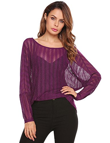 - Zeagoo Womens Crochet Blouse Batwing Long Sleeve Shirt Lace Sheer Oversized Top, Purple, Small