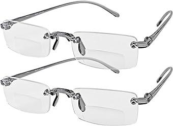 c5510ca0f5a Astra Depot Bifocal Unisex Stylish Frameless Rimless Reader Reading Glasses  Eyewear +2.00 Includes Smoke Portable