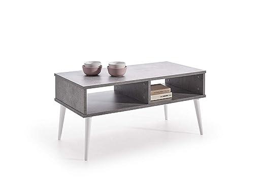 Hogar24-Mesa de Centro diseño Vintage, Acabado Color Gris Cemento y Patas Madera Maciza Natural Color Blanco. Medidas: 100 cm x 50 cm x 49 cm.