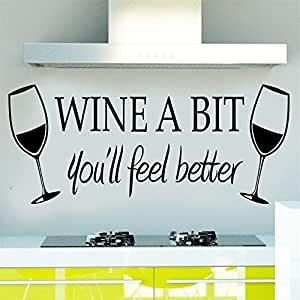 DIY WINE A BIT Wall Stickers Kitchen Vinyl Wall Quote Sticker Art Mural Decal Decor